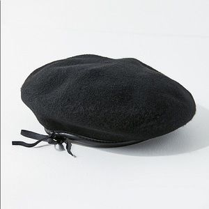 Black Leather Trim Military Beret Urban Outfitters